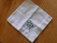 1940s Girl Scout White Embroidered Hankerchief