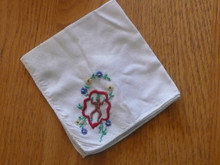1940s Brownie Girl Scout White Embroidered Hankerchief