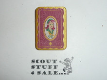 Vintage Girl Scout Pin, woven fabric on metel, Very unusual and special