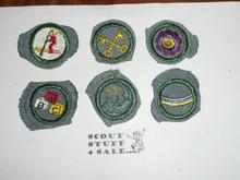 Vintage 30's-40's 6 crimped edge Proficiency Badges Girl Scout
