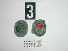 Vintage 30's Girl Scout Crimped and felt uniform badges