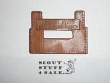 1950 National Jamboree Region Four (4) Buckskin Band Leather Neckerchief Slide, sewn