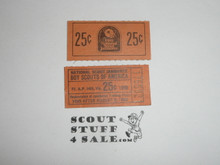 1989 National Jamboree two - 25 cent Trading Post Tickets