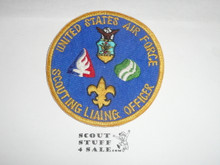 "Scouting Liason Officer Postition Patch, United States Air Force, Vietnam era, misspelled ""LIAING"""