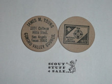 1977 National Jamboree Wooden Nickel, Concho Valley Council, James Young