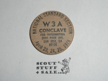 Order of the arrow W3A Conclave, 1976, San Jose CA, Boy Scout Wooden Nickel