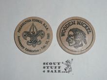 Philadelphia Council 1980 Anniversary Celebration Boy Scout Wooden Nickel