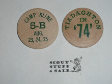 Order of the Arrow Area 5B 1974 Conference at Camp Kline, Boy Scout Wooden Nickel
