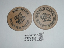 Scouting USA Mission Peak District Boy Scout Wooden Nickel