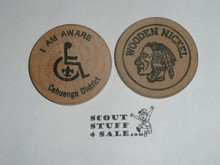 Great Western Council, I am Aware, Handicapped Boy Scout Wooden Nickel
