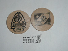 1977 National Jamboree Shenandoah Order of the Arrow Lodge #258, Boy Scout Wooden Nickel