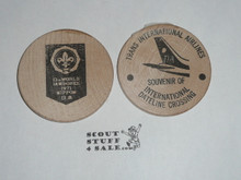 World Jamboree Texas International Airlines Boy Scout Large Wooden Nickel