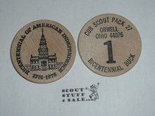 Orwell OH Cub Scout Pack 1976 Bicentennial Boy Scout Large Wooden Nickel
