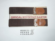 Copy of Official Boy Scout Garters New on issue card, lt brown leather ends