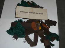 Pile of Official Boy Scout Garters and tabs, used