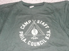 1950's Philadelphia Council Camp STAFF Tee Shirt, Medium, Very Lite use