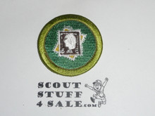 Stamp Collecting 42mm - Type I - Fully Embroidered Computer Designed Merit Badge (1993-1995)