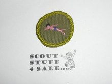 Swimming - Type F - Rolled Edge Twill Merit Badge (1961-1968), sewn