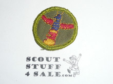 Wood Carving - Type F - Rolled Edge Twill Merit Badge (1961-1968), sewn