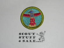 Wood Carving - Type J - Fully Embroidered Merit Badge with Scout Stuff backing (2002-current)