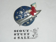 Moon and Scout Riding a Rocket Plastic Neckerchief Slide, by Torchy