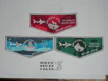 Order of the Arrow Lodge #566 Malibu Camps Emerald Bay, Whitsett & Josepho Flap Patch Set, RARE