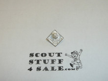 """Lion Cub Scout """"CUB SCOUTS BSA"""" Rank Pin, spin clasp back, Silver wash, EARLY"""