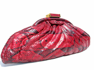 Red vintage snakeskin clutch