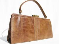 Sleek TAN 1950's-60's Lizard Skin Handbag - PALIZZIO