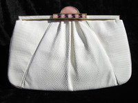 1980's-90's BONE Deco LIZARD Skin Clutch Bag - JUDITH LEIBER