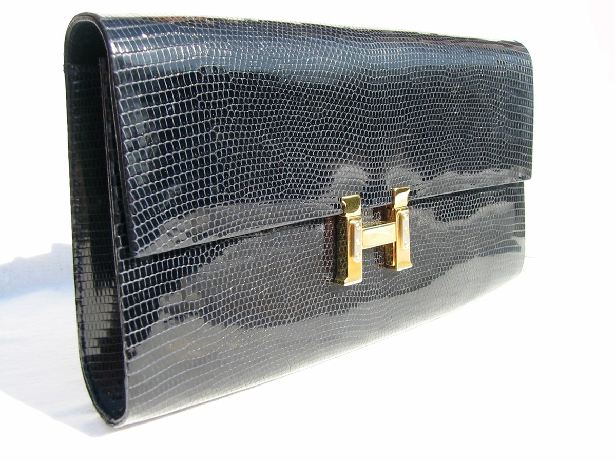6938745fdead LARGE 1960 s BLACK Lizard Skin Clutch Shoulder Bag - FINESSE LA ...