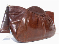 DECO Style 1950's Chocolate LIZARD Skin Clutch Bag - DEITSCH