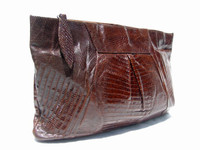 """HUGE 13"""" Chocolate 1950's-60's TEGU Lizard Skin CLUTCH Purse"""
