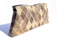Lovely 1960's-70's  PATCHWORK Monitor RING Lizard CLUTCH Bag - Lucite!