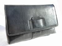 Classic XL WALTER KATTEN Black 1970's-80's Lizard Skin CLUTCH