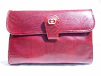 GUCCI 1970's-80's BURGUNDY Lizard Skin CLUTCH Shoulder Bag