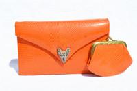 Orange JEWELED 1970's LIZARD Skin CLUTCH Shoulder Evening Bag - LA JEUNESSE