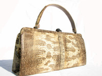 Rare 1950's-60's RING Lizard Skin Handbag - PALIZZIO