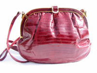 1980's BURGUNDY Lizard Skin Shoulder Bag - COLOMBETTI