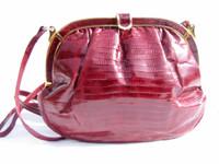 1980's BURGUNDY Lizard Skin Shoulder Bag - COLOMBETTI