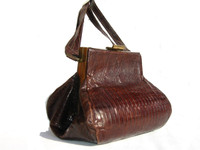1940's-50's DECO Style Chocolate LIZARD Skin SHOULDER Bag