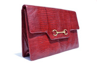 1970's-80's BURGUNDY Red Lizard Skin CLUTCH Shoulder CROSS Body Bag
