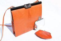 Orange JEWELED 1970's LIZARD Skin Shoulder Bag - LA JEUNESSE