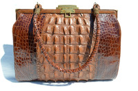 Lovely 1930's-40's EDWARDIAN Hornback ALLIGATOR Skin Purse