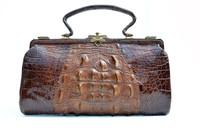 """Large 14"""" 1908 Brown Edwardian HORNBACK ALLIGATOR Skin Handbag"""