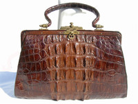 Fantastic Antique Late 1800's Brown Victorian ALLIGATOR Tail Skin Handbag