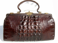 LOVELY Espresso Brown Early 1900's Edwardian Hornback Alligator Handbag