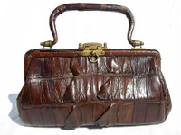 Dark Brown 1920'3-1930's EDWARDIAN Hornback Alligator TAIL Handbag