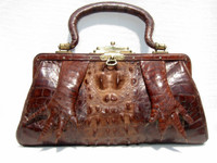 Fabulous Early 1900's Brown Antique Hornback Alligator Purse w/Paws!