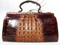 Large 1930's-40's 2-Tone Brown Hornback Victorian Alligator Purse